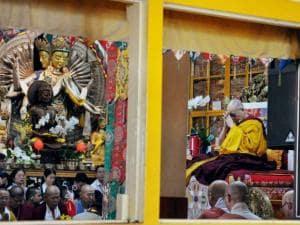 Tibetan Spiritual leader Dalai Lama's teachings at Tibetan temple