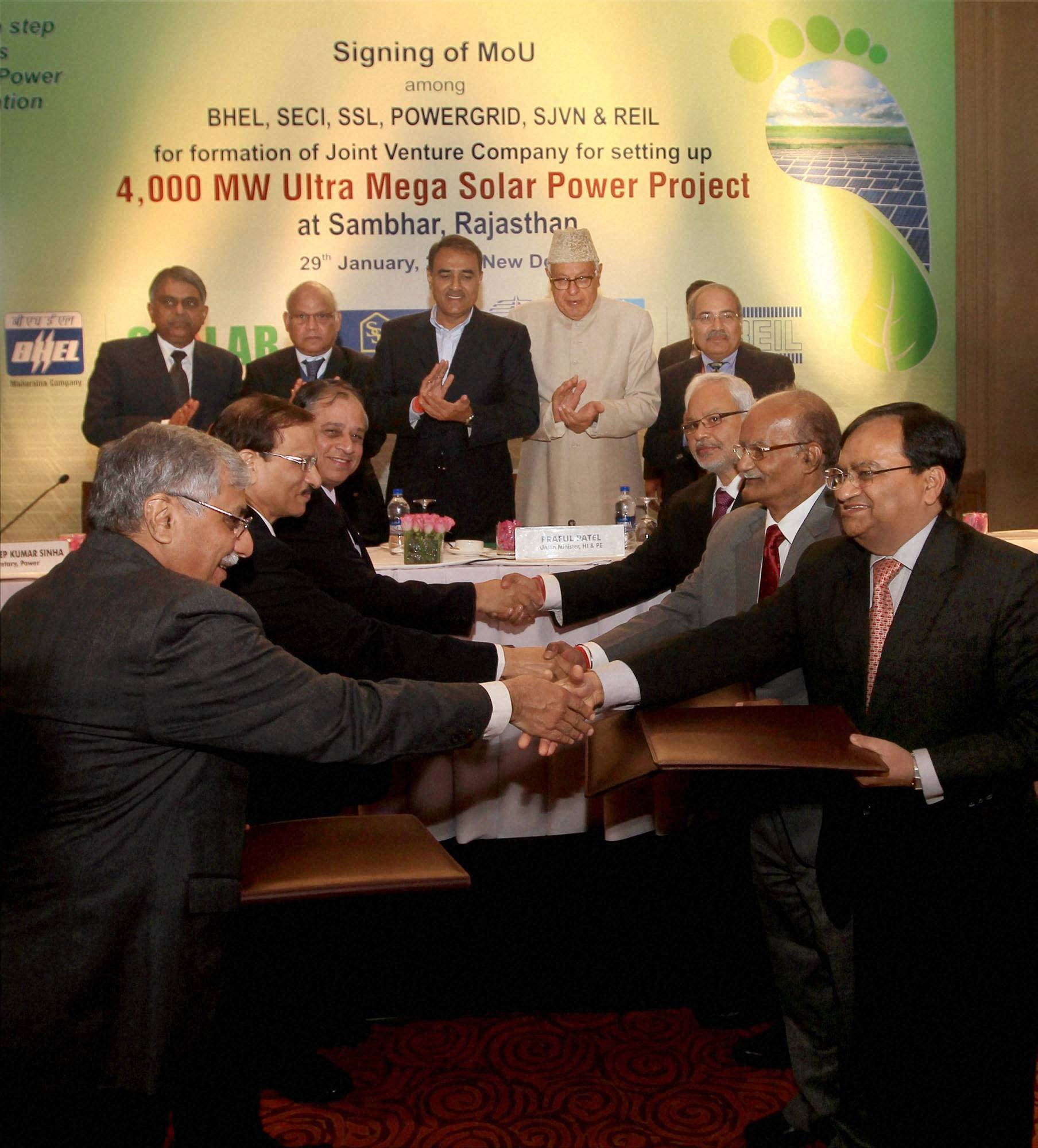 Union Minister of New and Renewable Energy (MNRE) Farooq Abdullah and Union Minister for Heavy Industries and Public Enterprises, Praful Patel witness the signing of MoU among BHEL, SECI, SSL, POWERGRID, SJVN & REIL for formation of Joint Venture Company Mega Solar Power Project at Sambhar, Rajasthan, in New Delhi on Wednesday