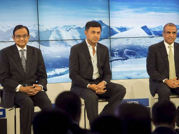 World Economic Forum, Chidambaram, Nikesh Arora, Sunil Bharti Mittal