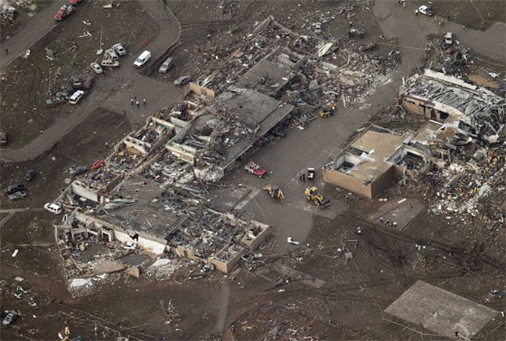 This aerial photo shows damage to Plaza Towers Elementary School after it was hit by a massive tornado in Moore, Oklahoma