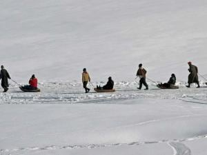 Tourists enjoying sledge ride at Gulmarg ski resort in district Baramulla