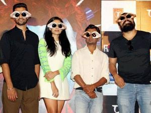 Actors Nawazuddin Siddiqui (2nd R), Vicky Kaushal (2nd L), Sobhita Dhuliwala (C) and filmmaker Anurag Kashyap (R) at the trailer launch of their upcoming film Raman Raghav 2.0, in Mumbai