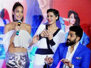 Lisa Haydon, Nargis Fakhri and Abhishek Bachchan during the trailer launch of film Housefull 3 in Mumbai