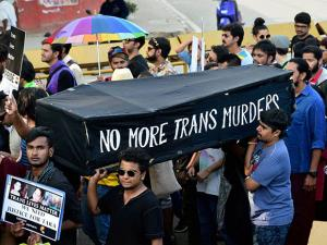 Transgenders during a queer habba pride march