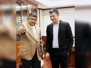 Union Law and IT Minister Ravi Shankar Prasad with Uber CEO Travis Kalanick