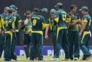 Australia 'A' player Ashton Agar celebrating along with teammates