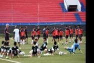 Pakistan and Indian U-23 Football players during practice session