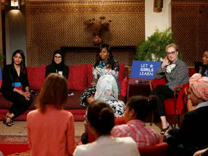 U.S first lady Michelle Obama, center, actress and advocate for girls' education Meryl Streep, second right, and Indian actress Freida Pinto