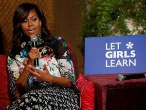 U.S first lady Michelle Obama speaks during a conversation with teenage girls in Marrakech