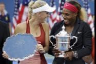Caroline Wozniacki of Denmark and Serena Williams of the United States