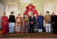 Parkash Singh Badal, Sukhbir Singh Badal, Union Minister Preneet Kaur at the wedding reception of BJP President Amit Shah's son Jay and Rishita