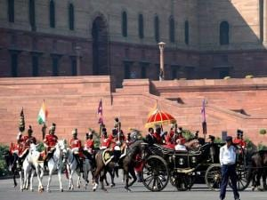 President Pranab Mukherjee arrives in a buggy to address the joint session of Parliament on the first day of budget session 2016