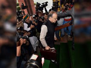 Finance Minister Arun Jaitley arrives in Parliament to present the Union budget for 2017-18