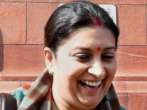 Textiles Minister Smriti Irani at Parliament House during the Budget session in New Delhi