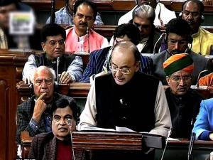 Finance Minister Arun Jaitley tabling the Union Budget for 2017-18 in the Parliament in New Delhi