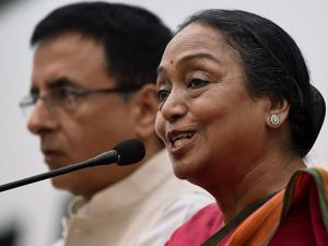 Opposition's presidential candidate Meira Kumar addressing a press conference
