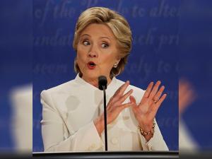 Hillary Clinton debates  during the third presidential debate