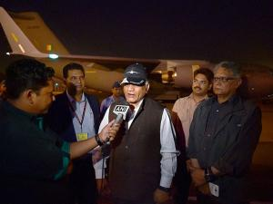 Minister of State for External Affairs V K Singh talks to media before leaving for South Sudan