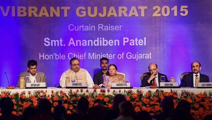 Gujarat Chief Minister, Anandiben Patel, State Minister Finance, Saurabh Patel,CII President, Ajay Shriram, curtain raiser, Vibrant Gujrarat,  2015, New Delhi