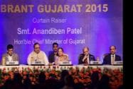 Gujarat Chief Minister Anandiben Patel, the State Minister Finance Saurabh Patel and CII President, Ajay Shriram