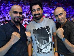 Rannvijaya Singh,Raghu Ram and Rajiv Laxmanat the WBO Asia Pacific Middleweight Championship