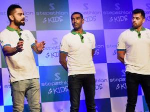 Cricketer Virat Kohli at the launch of Stepathlon Kids, a company on building a healthy lifestyle for children