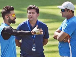 Virat Kohli along with coach, Anil Kumble and selector, Jatin Paranjpe