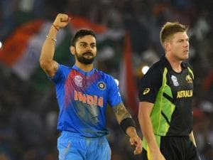Indian batsman Virat Kohli celebrates after winning the ICC World T20 match against Australia at PCA cricket stadium in Mohali