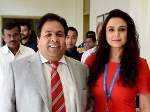 IPL chairman Rajiv Shukla with Kings XI Punjab co-owner Preity Zinta at the IPL players auction