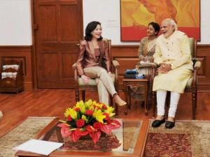 Prime Minister Narendra Modi with Oracle Global CEO Oracle Safra Catz during a meeting in New Delhi