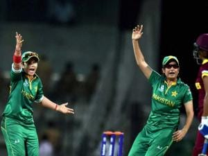 Pakistan's players celebrating for the wicket of West Indies during the ICC Women's World T20 match at MAC Stadium