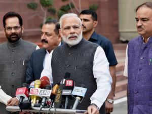 Narendra Modi talking to the media during the opening day of the winter_session of parliament