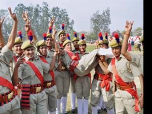 Female police personnel at passing out parade of 23 battalion in  Moradabad