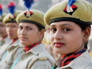 Woman police personnel at the passing out parade of 23 battalion, PAC in Moradabad