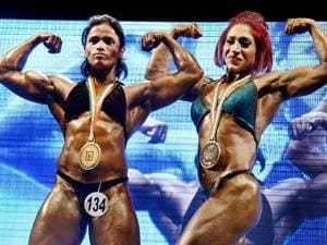 Women participants at a state-level body building championship in Thane