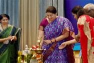 Smriti Irani lighting the lamp to inaugurate the National Workshop