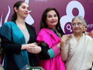 Former Delhi Chief Minister Sheila Dikshi with actor Salma Aga Khan and her daughter Sasha Agha during a press conference on the occasion of International Women's Day at Press Club