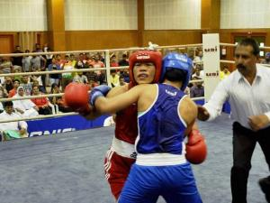 Six-time world champion Mary Kom and Pinki Jangra in action during the selection trials for the Asia-Oceania Olympic qualifier competition at NIS Patiala