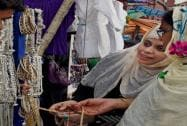Women shopping in the old city market ahead of Eid in Kolkata