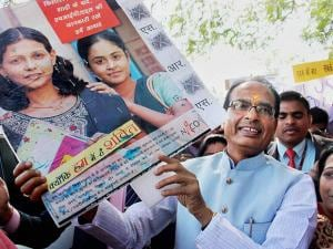 Madhya Pradesh Chief Minister Shivraj Singh Chouhan during an awareness rally on World AIDS Day
