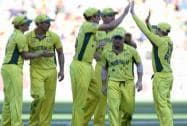 Australian players celebrate after bowling New Zealand out for 183 runs