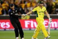 New Zealand captain Brendon McCullum, congratulates Australian captain Michael Clarke