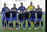 The Argentine National Team pose before the World Cup final Soccer
