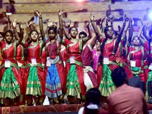 Artists rehearse on the eve of the three-day World Peace Festival being_organised by Art of Living Foundation