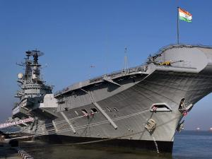 A view of INS Viraat before it's decommissioning ceremony