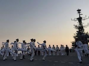 Naval officers during the decommissioning ceremony of INS Viraat at naval dockyard