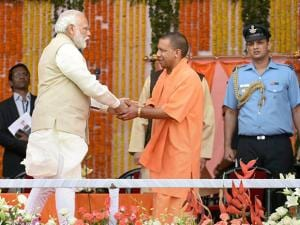 Prime Minister Narendra Modi congratulates newly sworn-in Chief Minister of Uttar Pradesh