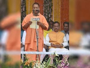 Yogi Adityanath taking oath as the new Chief Minister of Uttar Pradesh during the swearing-in ceremony in Lucknow