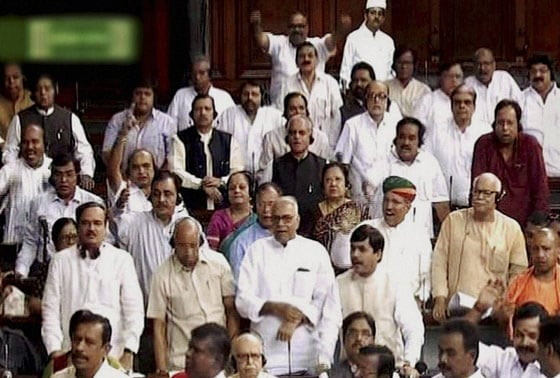 BJP MPs at the Lok Sabha in New Delhi on Wednesday in protest against the attack on Indian soldiers by the Pakistan Army