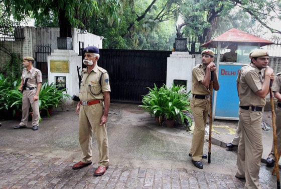 CRPF and Delhi Police personnel guard near Pakistan House in New Delhi where Hindu Sena was staging a protest on Wednesday against the killing of five army soldiers in Poonch